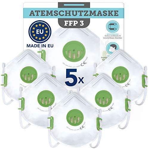 Natureflow MS 013 FFP3 Gesichtsmaske mit Schnalle und Filterventil, Weiß / Grün, 5 Stück