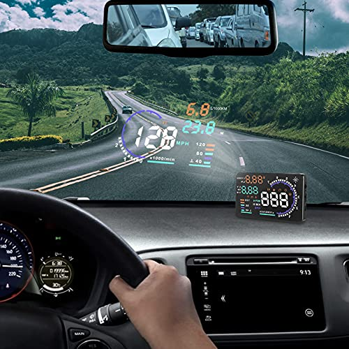icyant A8 5,5' Car Head-Up Display mit HUD-Bildschirm, OBDII Windschutzscheibenprojektor,...