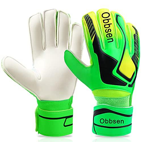 Obbsen Torwarthandschuhe für Kinder Jugendliche, Fußball Handschuhe Torwart mit Fingersave-Schutz und Extra...