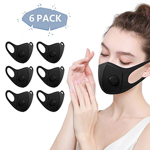 6 Stück Mundmaske mit Filter, Staubmasken, Wiederverwendbar, Waschbar, Atemschutzmaske für Laufen,...