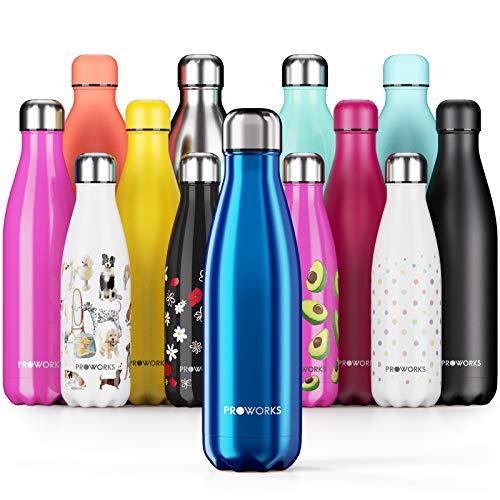 Proworks Edelstahl Trinkflasche | 24 Std. Kalt und 12 Std. Heiß - Premium Vakuum Wasserflasche - Perfekte...