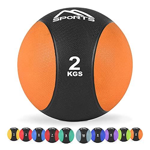 MSPORTS Medizinball 2 kg – Professionelle Studio-Qualität inkl. Übungsposter Gymnastikbälle