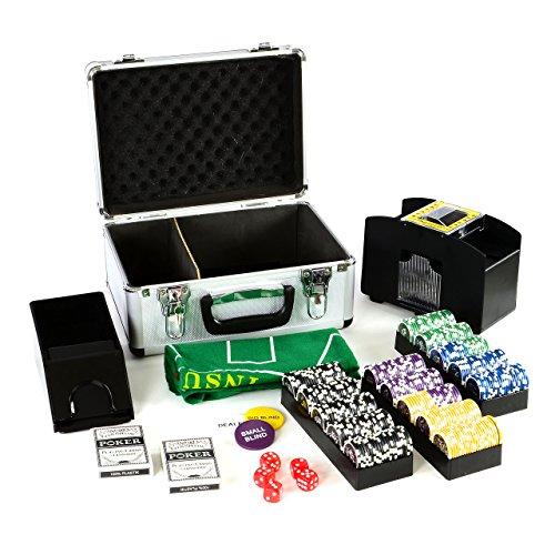 Pokerkoffer Deluxe Pokerset mit 300 Ocean Champion Chips mit viel Zubehör Kartenmischer Kunststoffkarten...