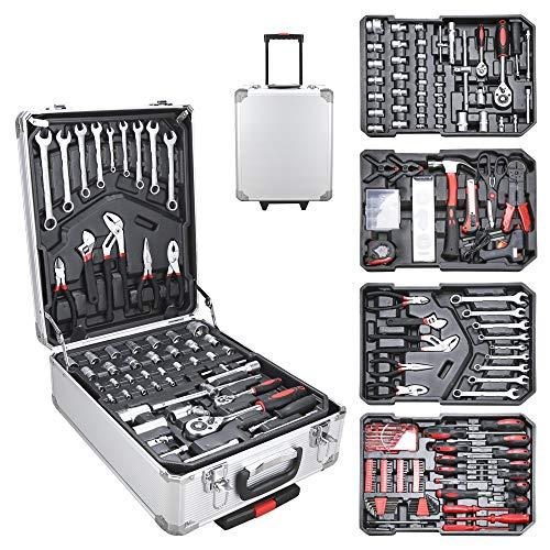 Hengda Werkzeugkoffer 1031 teilig Alu Werkzeugkasten Werkzeugkiste gefüllt Set abschließbar Werkzeugtasche...