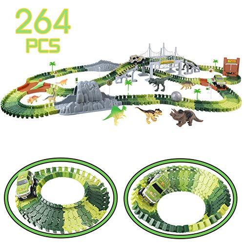 Nuheby Autorennbahn Rennbahn Dinosaurier fr Kinder Junge Mdchen 3 4 5 6 Jahren, 264 Stck die Autorennbahn...