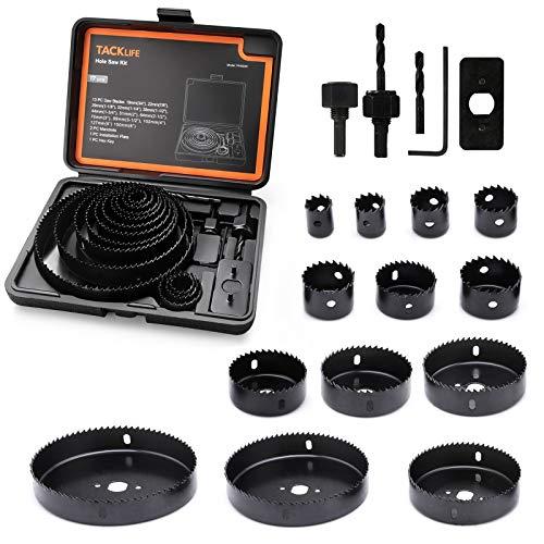 Lochsägen Set, TACKLIFE, 17-Teiliger Lochsägesatz, Gehärteter Kohlenstoffstahl, ideal für Bohren auf...