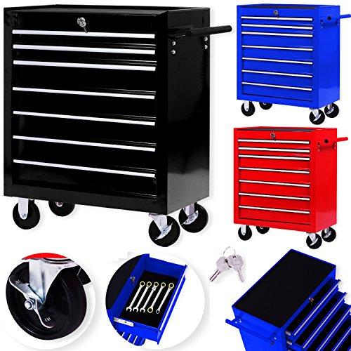 Masko® Werkstattwagen - 7 Schubladen, schwarz ✓ Abschließbar ✓Massives Metall | Mobiler Werkzeug-Wagen...