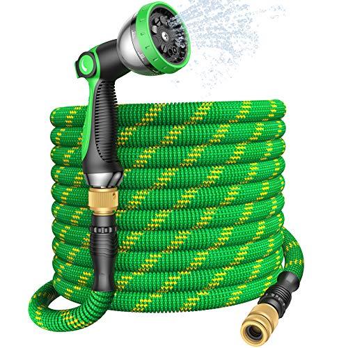U UZOPI Flexibler Gartenschlauch, Erweiterbarer 100FT Wasserschlauch mit 10 Funktionen Hochdruck Sprühdüse...