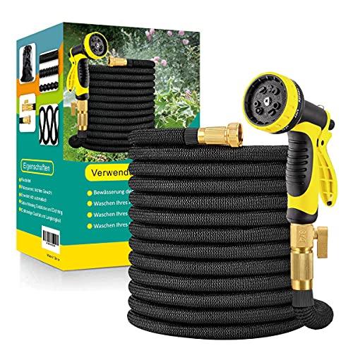 Flexibler Gartenschlauch Wasserschlauch Flexibel mit 10-Funktions-Düse Brause Adapter aus Messing Aufhänger...