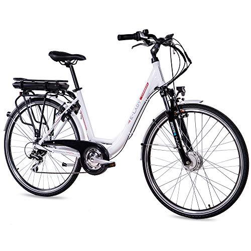 CHRISSON 28 Zoll E-Bike Trekking und City Bike für Damen - E-Lady weiß mit 8 Gang Acera Kettenschaltung -...
