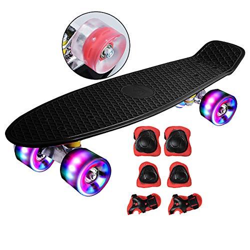 DnKelar Skateboard mit Schutzausrüstung,Mini Cruiser Retro Board für Kinder Jungenliche Mädchen...