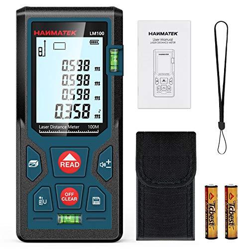 Entfernungsmesser, HANMATEK LM100 100M Digitales Laser Entfernungsmesse mit LCD Hintergrundbeleuchtung M/In/Ft...