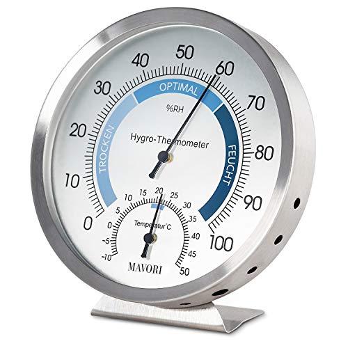 MAVORI® Thermometer Hygrometer innen analog - Luftfeuchtigkeitsmessgerät und Zimmerthermometer aus...