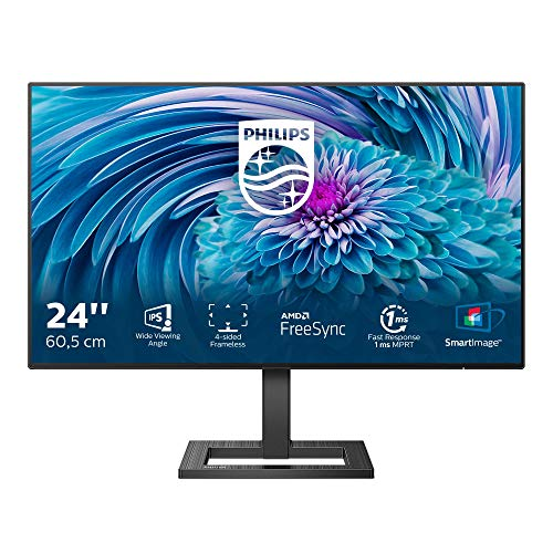 Philips 242E2FA - 24 Zoll FHD Gaming Monitor, 75 Hz, 4ms, Adaptive Sync (1920x1080, VGA, HDMI, DisplayPort)...