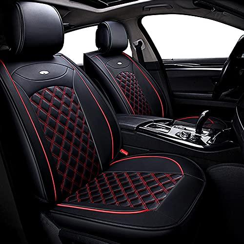 Udpomb Luxus Autositzbezüge Vordersitze Leder Universal, Schwarz&Rot Rhombus Motiv Lederoptik, Fahrersitz und...
