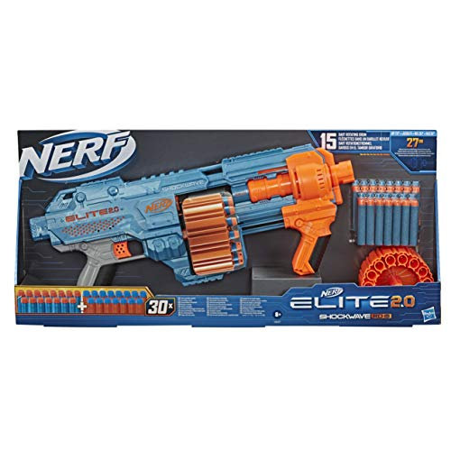 NERF Hasbro E9527EU4 Elite 2.0 Shockwave RD-15 Blaster, 30 Darts, 15-Dart Rotationstrommel, Schnellfeuer mit...