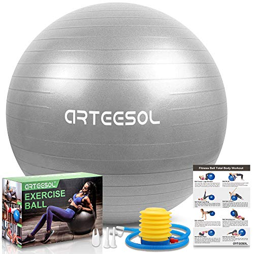 arteesol Gymnastikball, Balance Ball 45cm/55cm/65cm/75cm Yoga Ball mit Pumpe Anti-Burst Fitness Balance Ball...