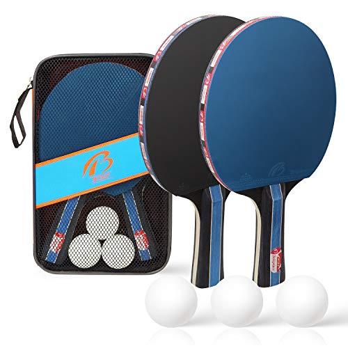 COCITY Tischtennisschläger Set - 2 Spieler Sets mit 2 Schläger und 3 Bälle, Tischtennis Set mit...