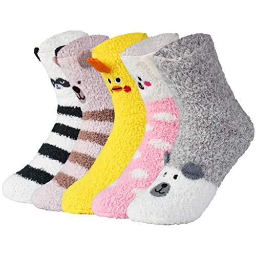 VBIGER Damen Kuschelsocken Warme Wintersocken Cute Cartoon Muster Hausschuhsocken Anti Rutsch Noppen Socken, 5...