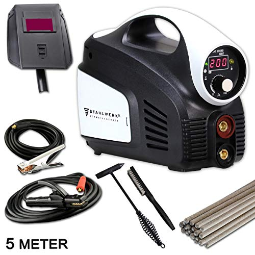 STAHLWERK ARC 200 XD IGBT - Schweißgerät DC MMA/E-Hand mit echten 200 Ampere, Digitalanzeige, kompaktes &...