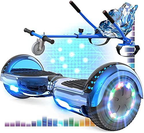 RCB Hoverboard mit Sitz und Hoverkart Set 6,5 Zoll Elektro Skateboard für Kinder Elektroroller mit Bluetooth...