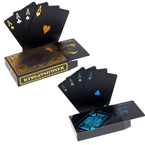 2 x Playing Cards Schwarze Wasserdichtes Pokerkarten Plastik Spielkarten aus PVC Profi Premium Spielkarten...