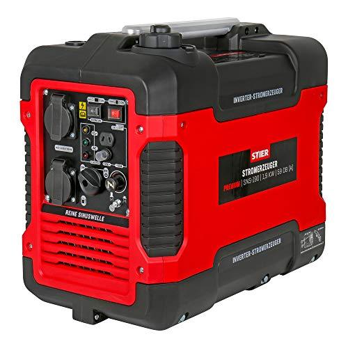 STIER Stromerzeuger Premium SNS-190, Strom Generator, Benzin, 4l Tankvolumen, 21,5 Kg, Stromaggregat, leise...