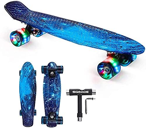 SGODDE Skateboard Komplette 56cm/22 Mini Cruiser Board Retro Komplettboard für Anfänger Kinder Jugendliche...