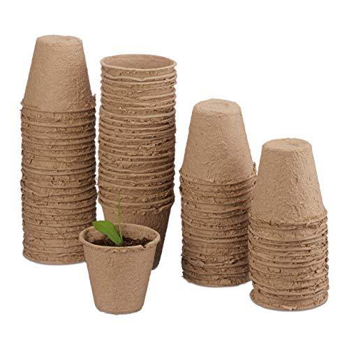 Relaxdays, beige Anzuchttöpfe im Set, biologisch abbaubar, für Pflanzen, 80 Stück Pflanztöpfe, Zellulose,...