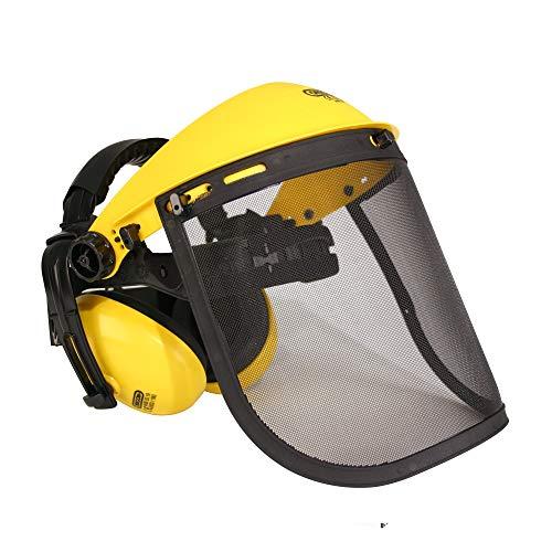 Oregon Gesichtsschutz und Gehörschutz Q515061, Gesichtsschutzmaske mit Netzvisier, integriertem...