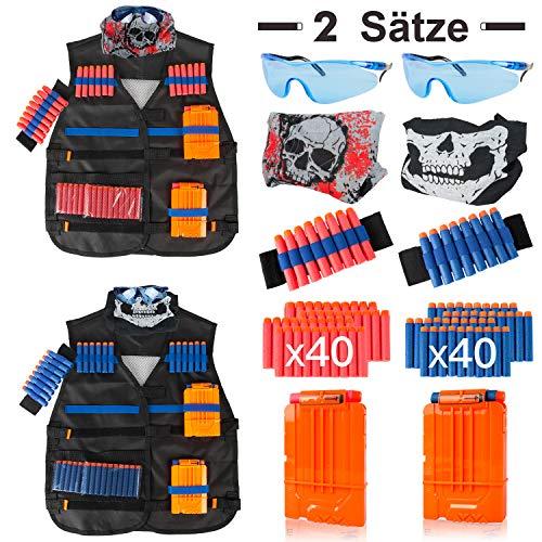 LVHERO 2 Sätze Kinder Taktisch Vest Battle Weste Kit für Nerf Guns N-Strike Elite Serie,2 Stück Battle...