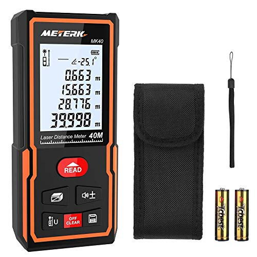 Laser Entfernungsmesser, Meterk Distanzmessgerät mit Messbereich von 40m, 30 Gruppen Datenspeicher, M/In/Ft...
