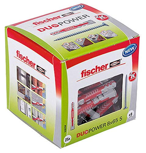 fischer DUOPOWER 8 x 65 S, Universaldübel mit Sicherheitsschraube, 2-Komponenten-Dübel, Kunststoffdübel zur...