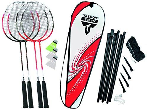 Talbot Torro Badminton-Set 4-Attacker Plus, Kolmplettset mit 4 Schläger, 3 Federbälle, komplette...