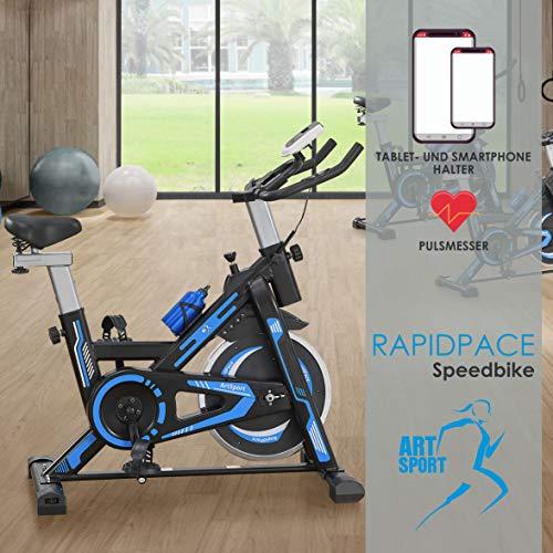 ArtSport Heimtrainer Speedbike RapidPace - Ergometer mit Riemenantrieb, 10 kg Schwungrad, LCD Display &...