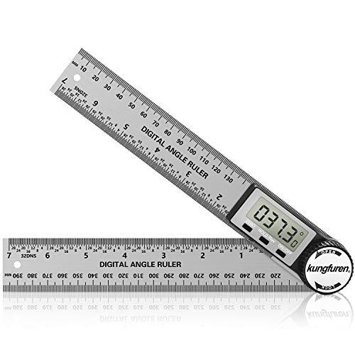 kungfuren Digitaler Winkelmesser, 2 in 1 Winkelmesser, Winkelschmiege Lineal mit LCD Anzeige, HOLD und...