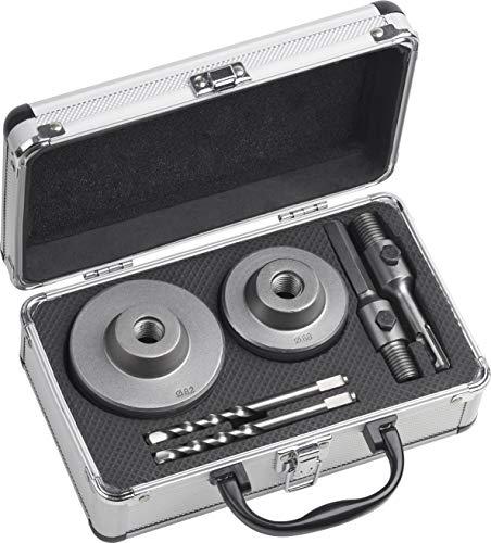 Werkzeyt Bohrkronen-Set 6-teilig - Ø 68 + 82 mm - 50 mm Schnitttiefe - SDS-Plus- & Sechskant-Adapter - 2...