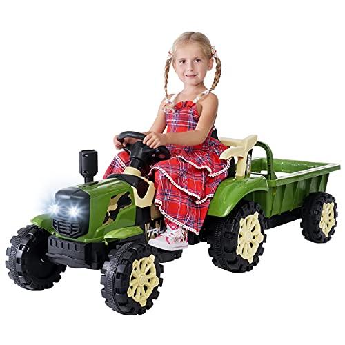 Actionbikes Motors Kinder Elektro Traktor mit Anhänger - 2,4 Ghz Fernbedienung – LED Scheinwerfer - Elektro...