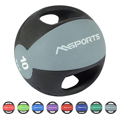 MSPORTS Medizinball Premium mit Griffe 1 – 10 kg – Professionelle Studio-Qualität Gymnastikbälle (10 kg...