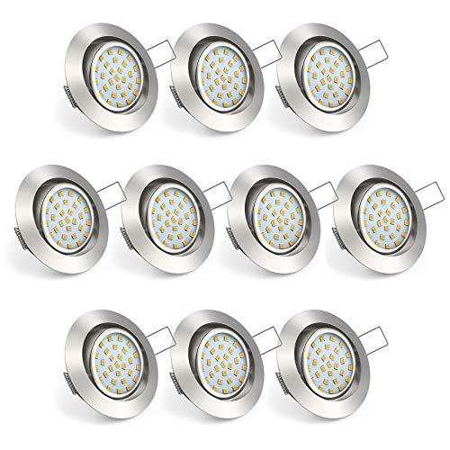 Uchrolls 10er Set Ultra Flach LED Einbaustrahler Schwenkbar, 4W 450LM, Warmweiß, Nur 22mm Einbautiefe...