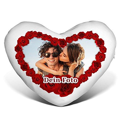 PhotoFancy® - Herzkissen mit Foto Bedrucken - Fotokissen in Herzform selbst gestalten (Herzkissen mit Foto im...