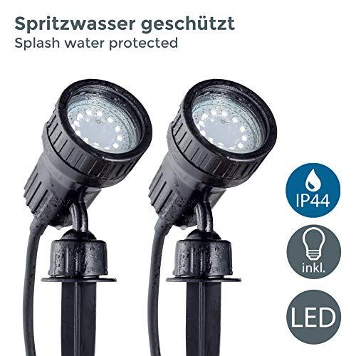 B.K.Licht I 2er Set LED Gartenstrahler I Pflanzenstrahler I inkl. 2x3W GU10 I 250Lm I 3.000K warmweiß I IP44...
