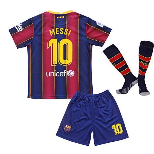 GamesDur 2020/2021 Lionel Messi Heim Barca Kinder Fußball Fußball Trikot Jugendgrößen (Heim,24)