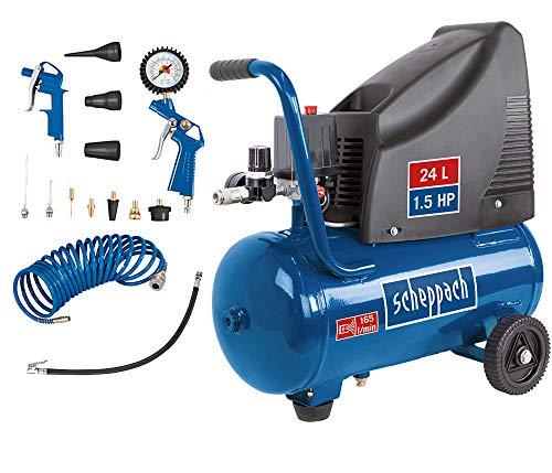 Scheppach Kompressor HC25o (1100W, 24 L, 8 bar, Ansaugleistung 165 l/min, Druckminderer, lfrei) - inkl....