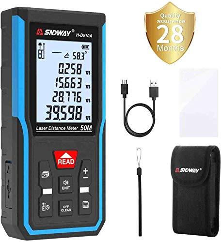 Tilswall Laser Entfernungsmesser, Distanzmesser 50m HD/±1 mm mit M/In/Ft, tragbares digitales Lasermessgerät...