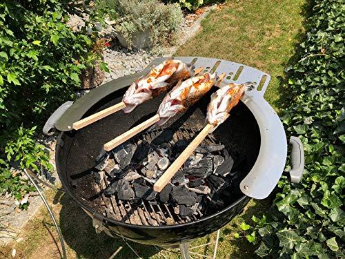 Kirschner Metallbau Steckerlfisch Grillaufsatz Kugelgrill Weber 47cm 57cm 5X Stockfisch Fisch Grill...