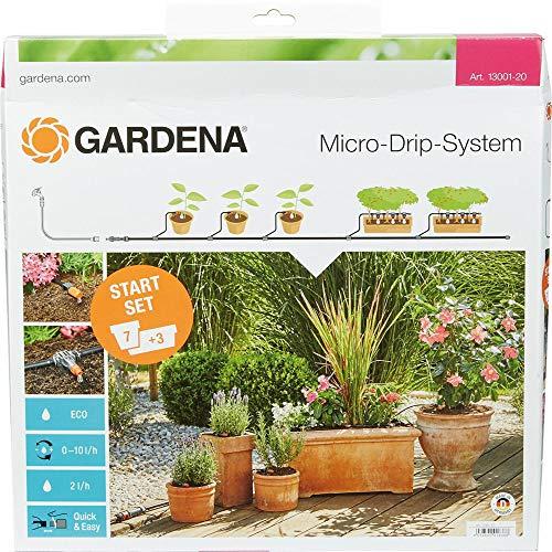 Gardena Start Set Pflanztöpfe M: Praktisches Micro-Drip-System Starterset für 7 Topfpflanzen und 3...