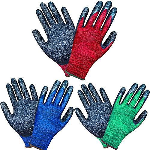 Lifecare 3 Paar mehrfarbige Gartenhandschuhe für Frauen und Männer, Latexbeschichtung ausgezeichnete...