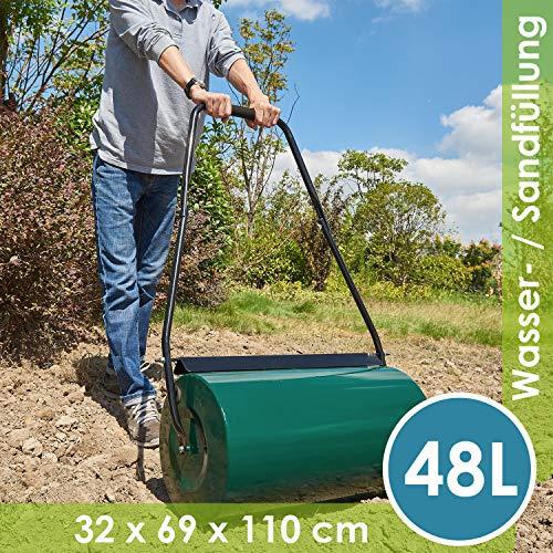 Juskys Rasenwalze Fritz aus Metall mit Schmutzabweiser - befllbar mit Wasser/Sand - 48l Fllvolumen  60 kg...