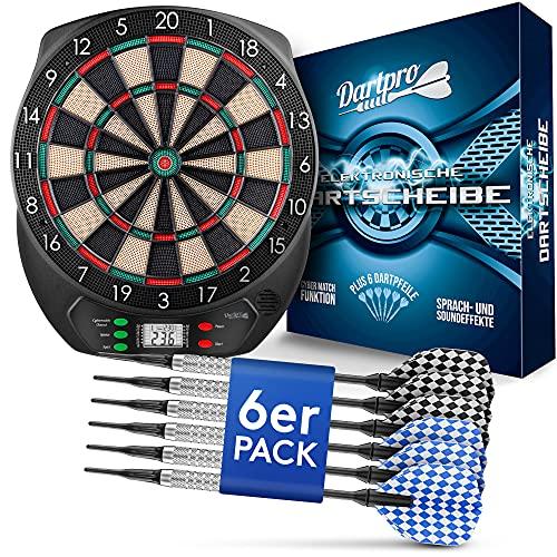DartPro Dartscheibe elektronisch - Dartboard mit 6 Darts [kabellos nutzbar] - Innovativer Dartautomat mit 65...